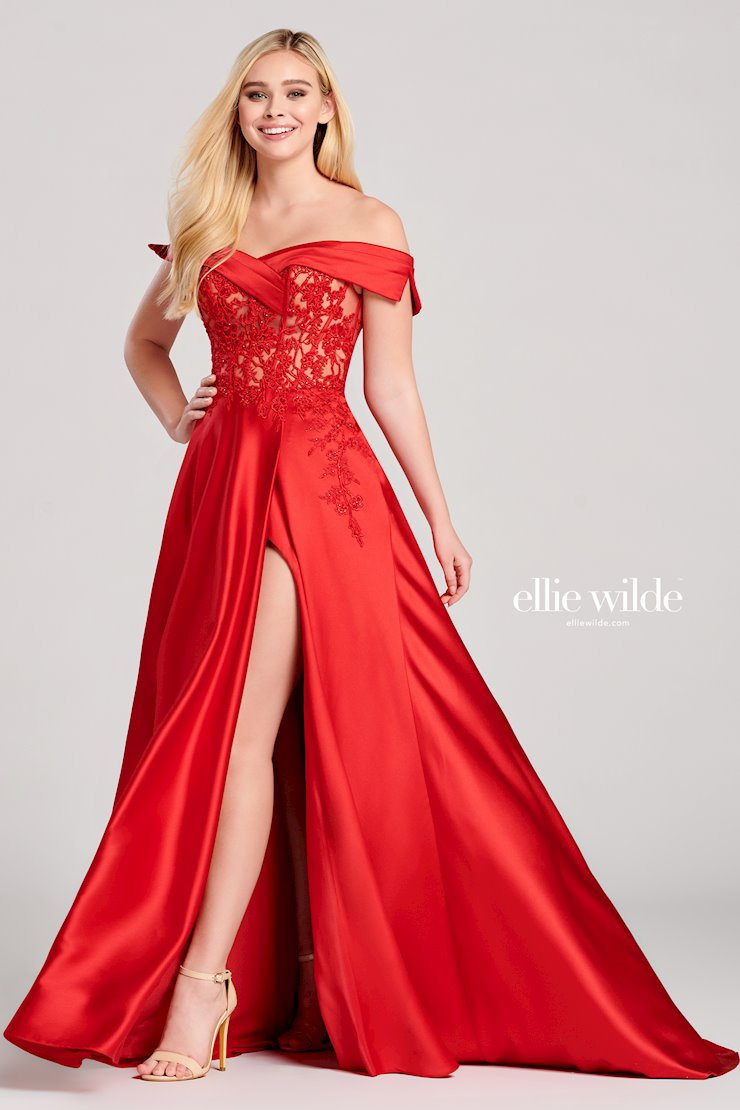 Ellie Wilde Prom Dresses Off the Shoulder Red Evening Gown