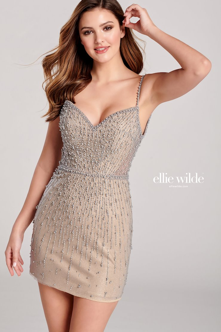 Ellie Wilde Prom Dresses Sexy Short Embellished Homecoming Dress