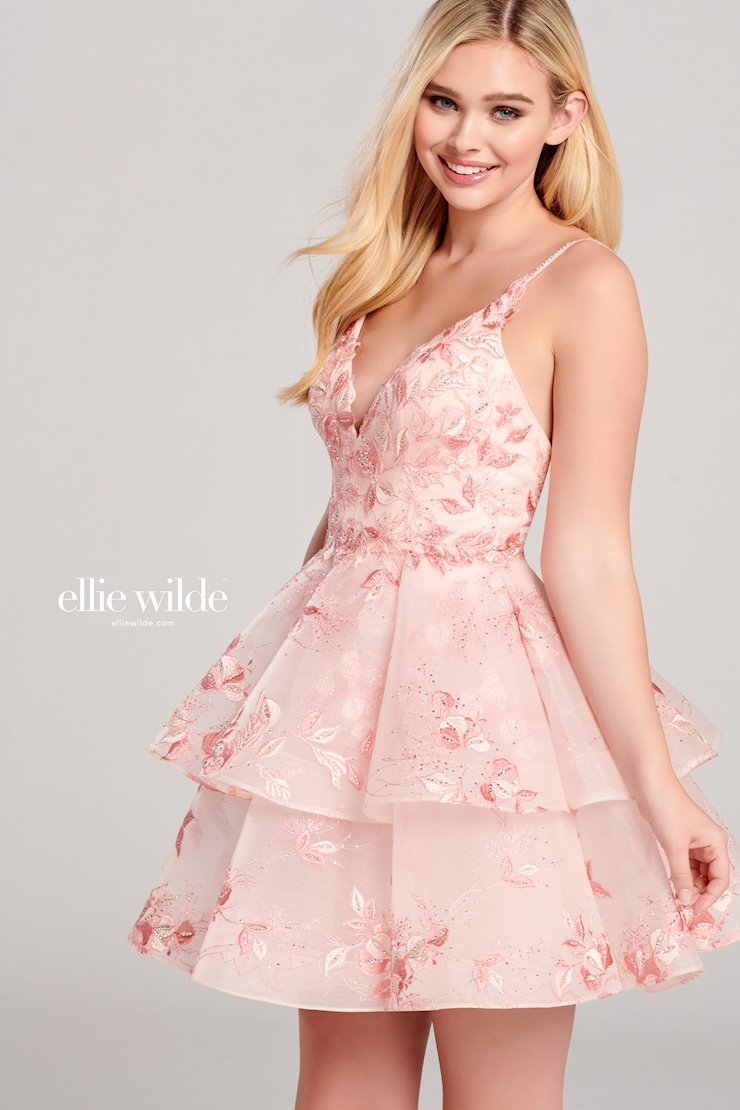 Ellie Wilde Prom Dresses Short Embroidered Lace Homecoming Dress