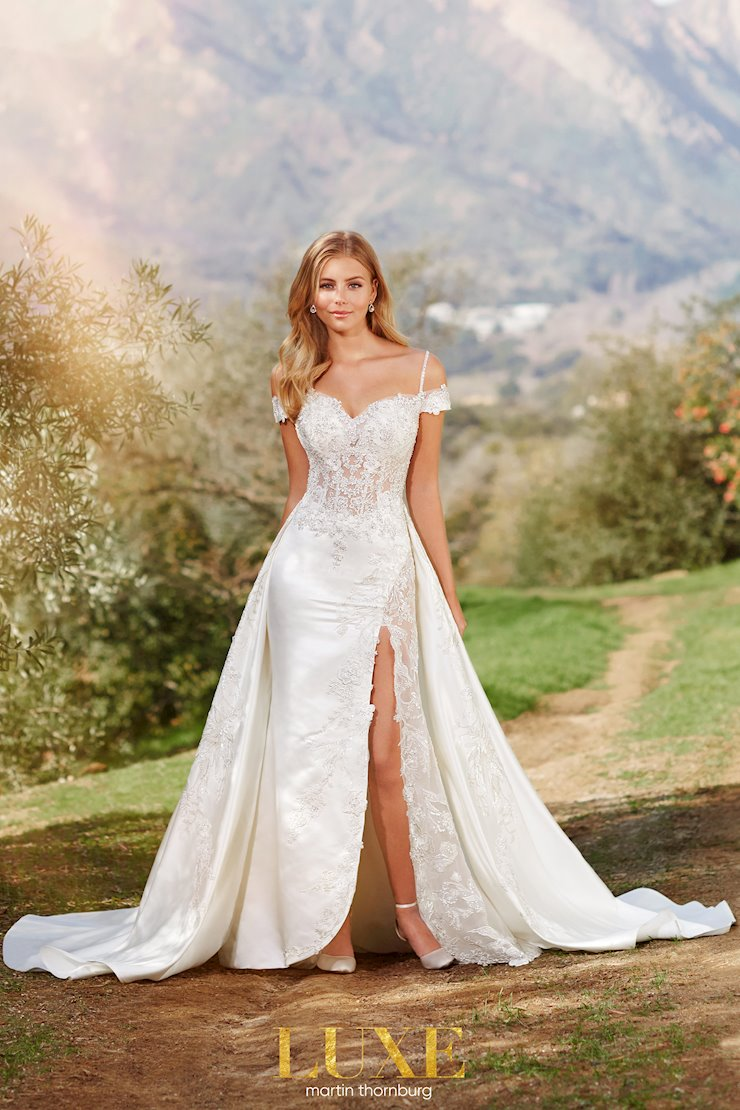 Bassett Charming A-line gown with sexy thigh high slit and cold shoulder