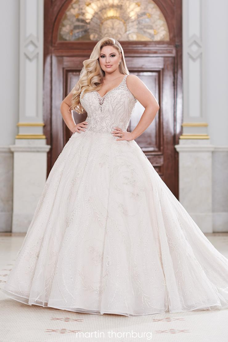 Clemente Eye-catching sequin tulle plus size ball gown with hand-beaded lace