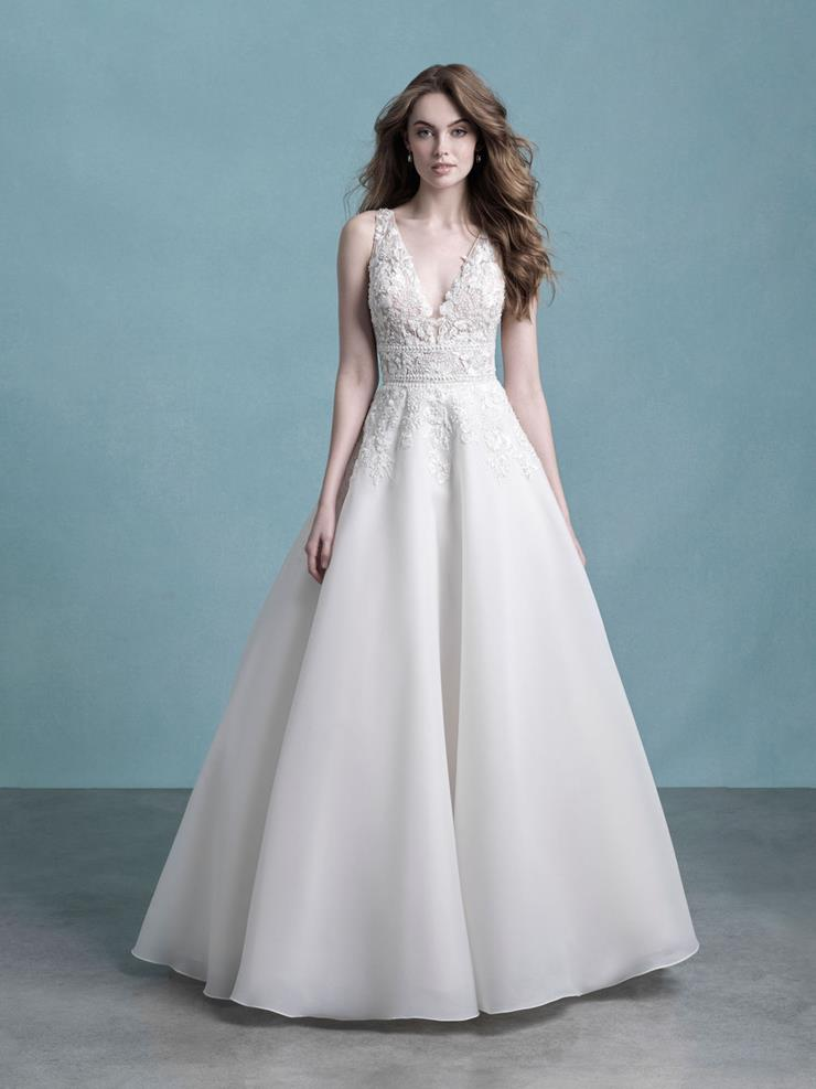 Allure Style #9752 Sleeveless V-neck Ball Gown Wedding Dress with 3D Bodice Florals and Buttons Down the Train  Image
