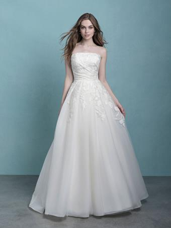 Allure Style 9761 Straight Neckline Tulle Ball Gown Wedding Dress with Floral Appliques