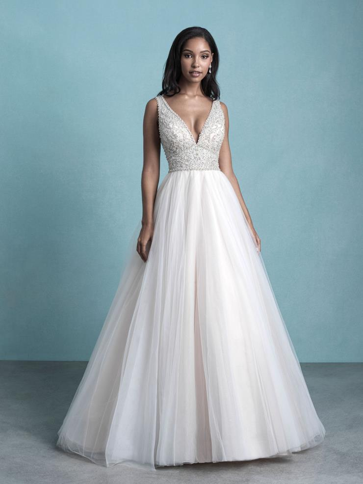 Allure Style #9764 Strapless V-neck Ballgown with Beaded Bodice and Tulle Skirt  Image