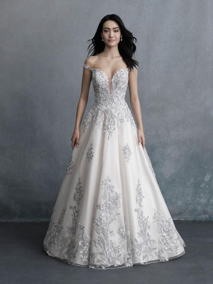 Allure Couture Style #C580 Off the Shoulder Ballgown Wedding Dress with Silver Shimmery Embroidered Lace  Image