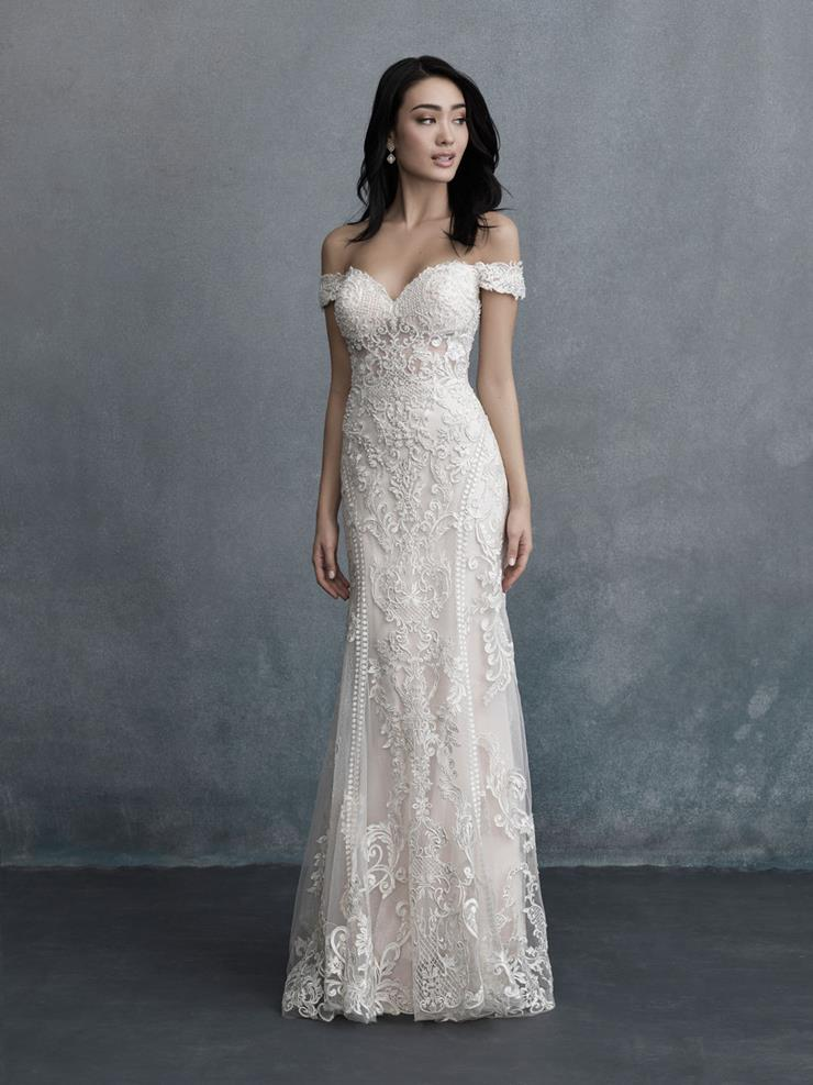Allure Couture Style #C586 Vintage Looking Lace and Beaded Off the Shoulder Sheath Wedding Dress  Image