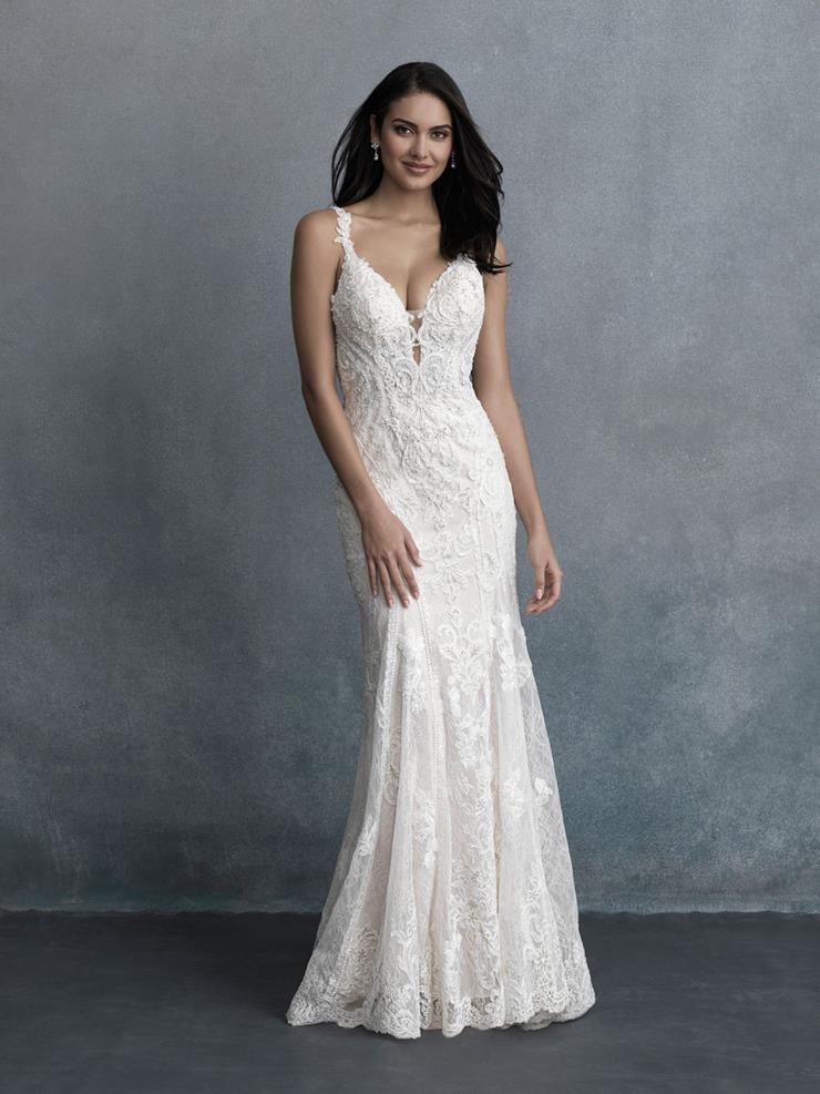 Allure Couture Style #C591 Fully Beaded Sheath Wedding Dress with Deep V-neck and Scalloped Edge Train  Image