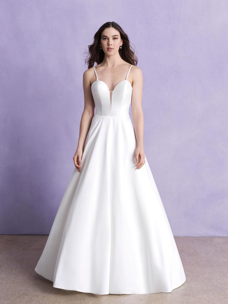 Allure Romance Style #3356 Thin Strap Silk Mikado with Low Back and Illusion Bow Image