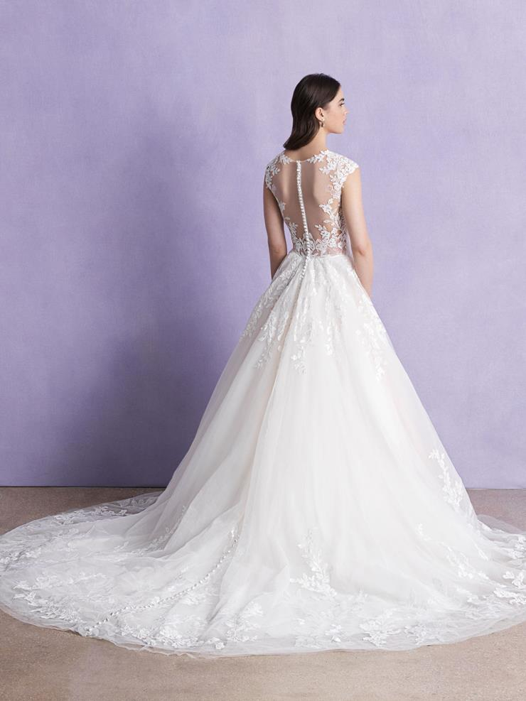 Allure Romance Style #3365 V-neck Lace Ballgown with Cap Sleeves and Stunning Illusion Back Image