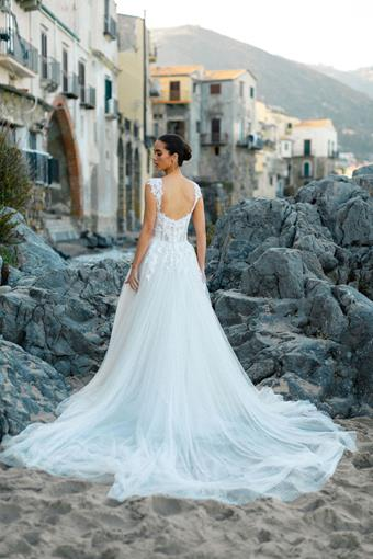 Allure Style Carli Cap Sleeve A-line Wedding Dress with Corset Bodice and Lace Appliques