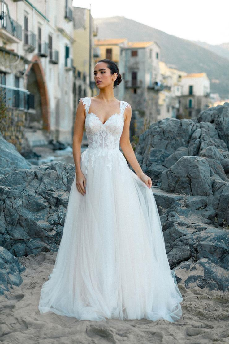 Allure Style #Carli Cap Sleeve A-line Wedding Dress with Corset Bodice and Lace Appliques