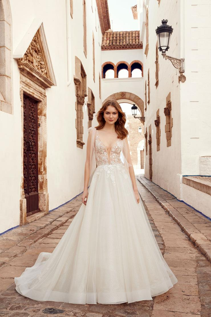 Allure Style #Mariah Plunging V-neck Wedding Dress with Corset Bodice and Sweet Shoulder Bow Detail  Image