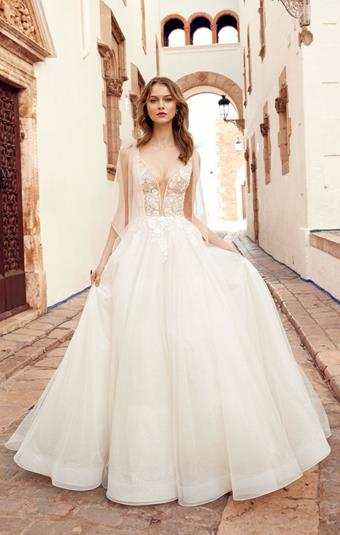 Allure Style #Mariah Plunging V-neck Wedding Dress with Corset Bodice and Sweet Shoulder Bow Detail