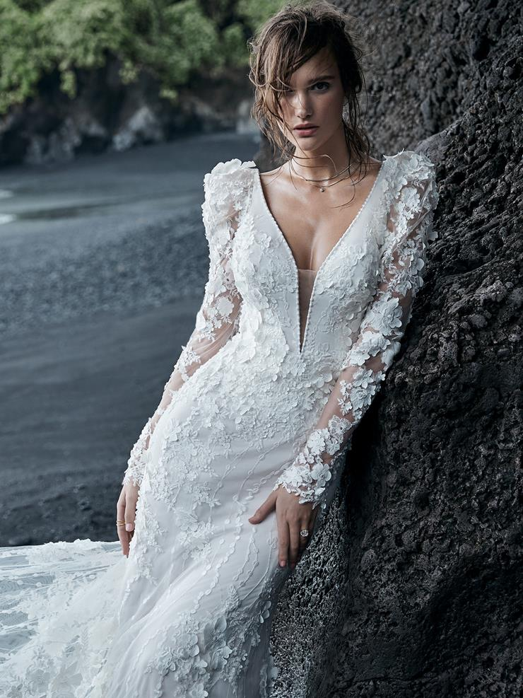 Sottero and Midgley Style #Cruz Vintage Puff Sleeve Mermaid Wedding Dress with 3D Florals  Image