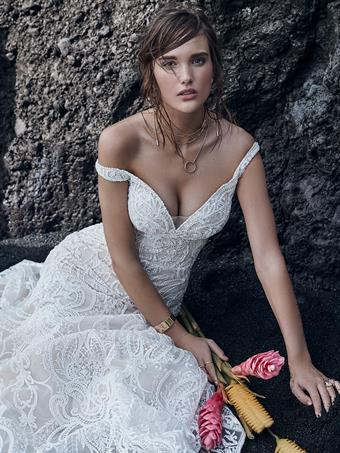 Sottero and Midgley Style #Elias Beaded Lace Mermaid Wedding Dress with Off the Shoulder Sleeves