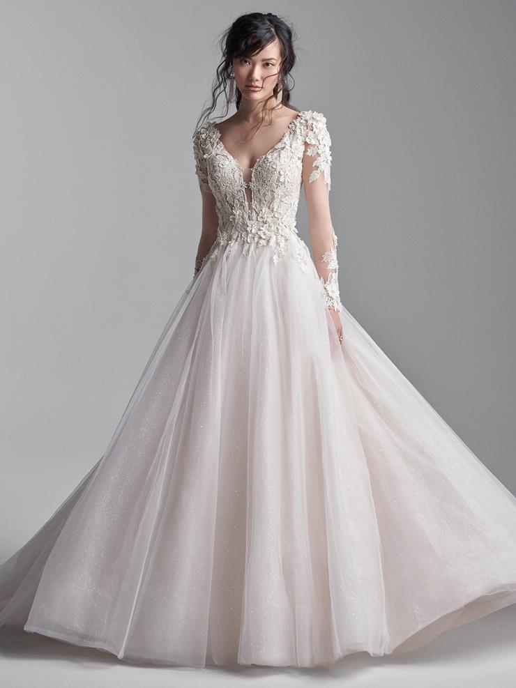 Sottero and Midgley Style #Mathias Long Sleeve Keyhole Back Ball Gown Wedding Dress with 3D Lace Image