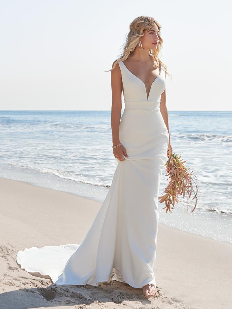 Rebecca Ingram Style #Danica Simple Sheath Crepe Wedding Gown Image