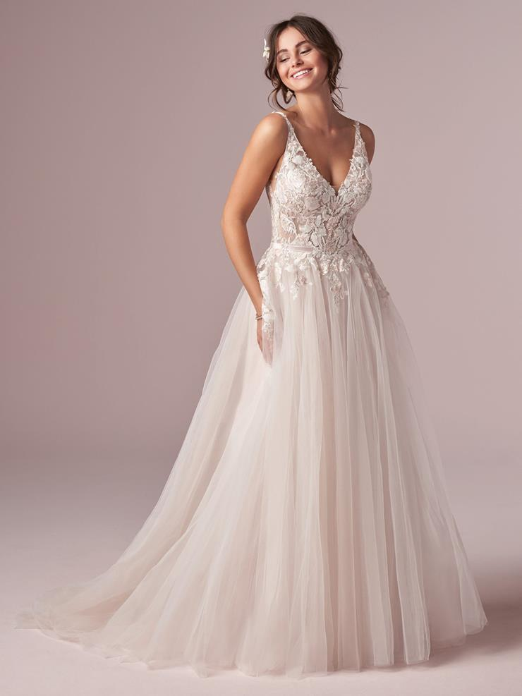 Rebecca Ingram Style #Minerva V-neck Lace A-line Wedding Dress with Floral Lace and Tulle Skirt