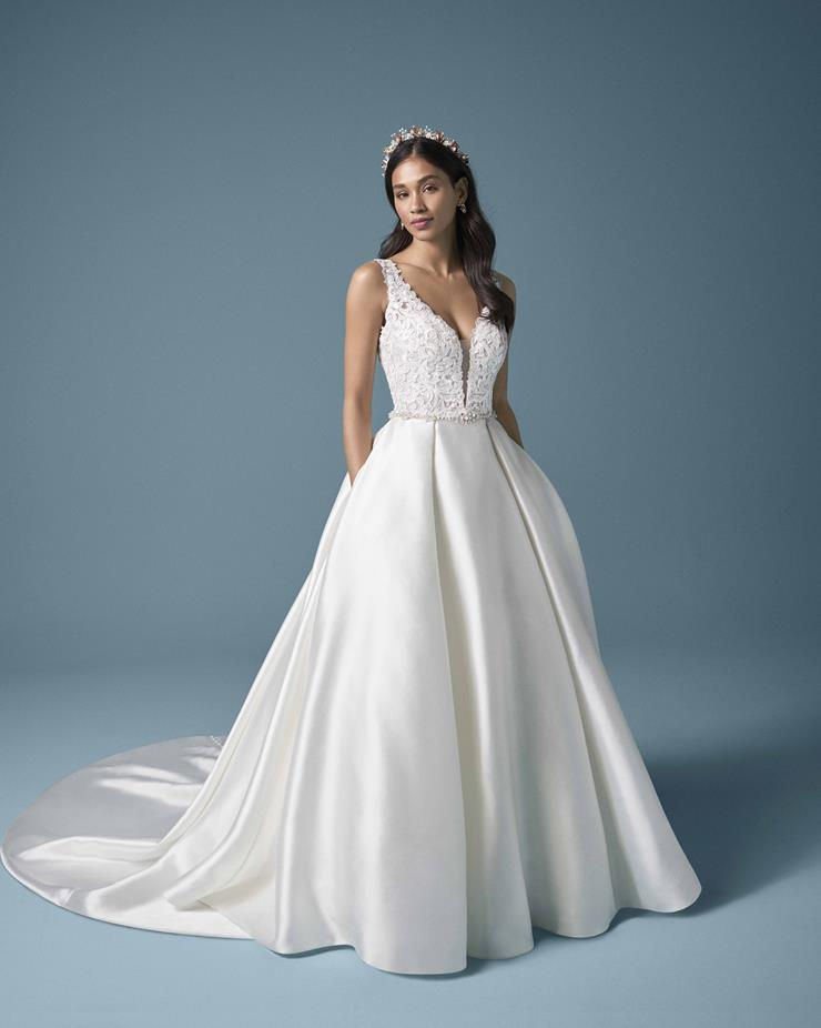 Maggie Sottero Style #Sonnet Satin Princess Wedding Gown with Beaded Bodice Image