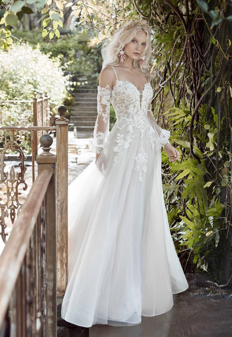 Maggie Sottero Style #Stevie Cold Shoulder Bishop Sleeve Princess Wedding Dress Image