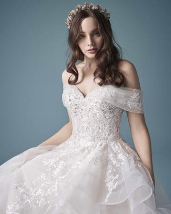 Maggie Sottero Style #Zariah Strapless Princess Bridal Gown with Lace Over Sparkle Tulle