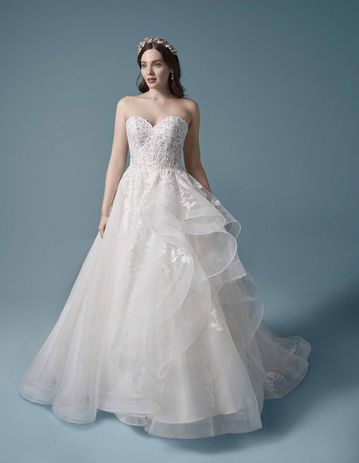 Maggie Sottero Style #Zariah Strapless Princess Bridal Gown with Lace Over Sparkle Tulle Image