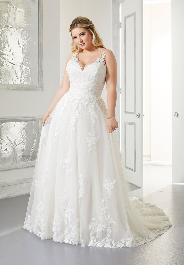 Morilee Style #3302 Arlene Plus Size A-line, V-neck  Wedding Dress with Illusion Straps and Illusion Back  Image