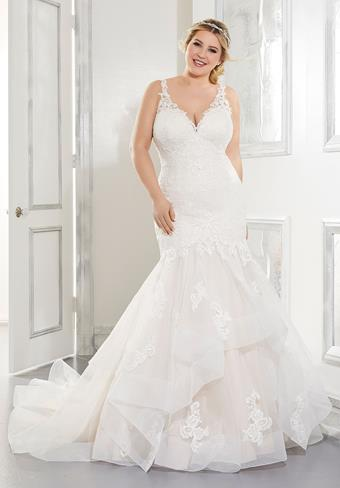 Morilee Style #3306 Lace V-Neck Mermaid with Horsehair Trim and a Low Back