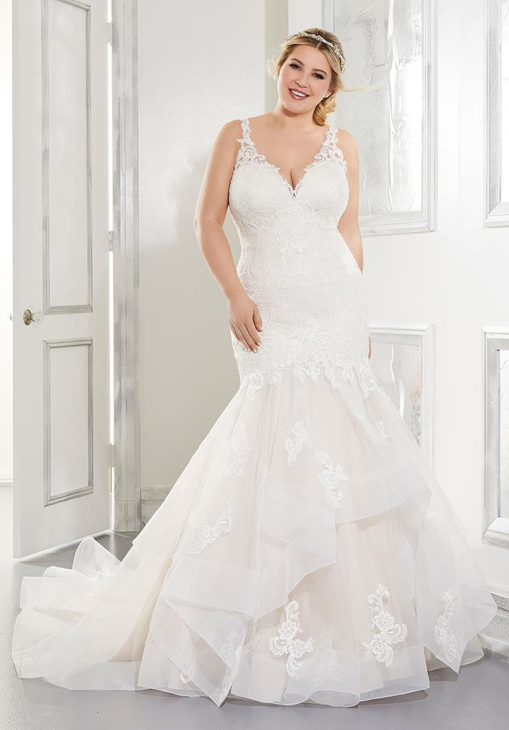 Morilee Style #3306 Lace V-Neck Mermaid with Horsehair Trim and a Low Back  Image