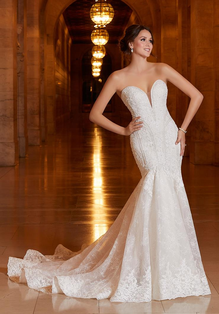 Madeline Gardner Signature Style #1044 Strapless Full Beaded Bodice and Lace Mermaid Wedding Dress  Image