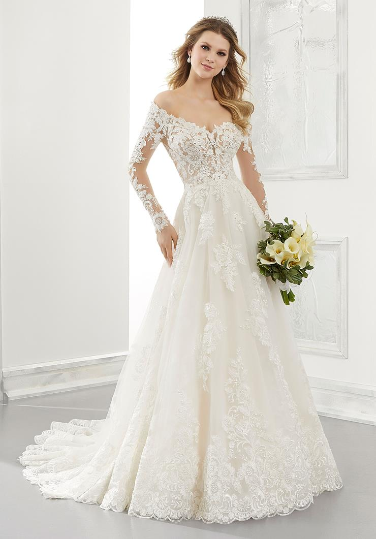 Morilee Style #2196 Off the Shoulder A-line Wedding Dress with Floral Embroidered Tulle and Long Sleeves  Image