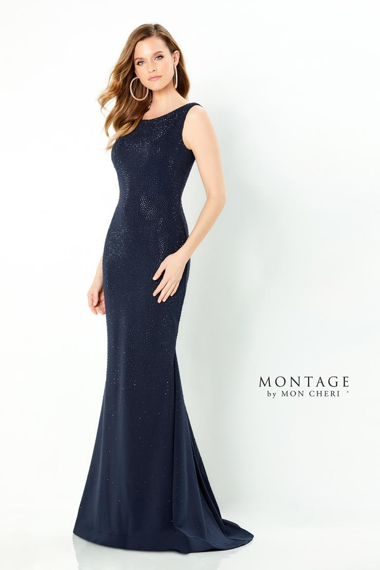 Montage Style #220950 Sleeveless Fit and Flare Mother's Dress with Jewel Neckline and Stone Accents  Image