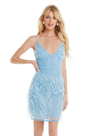 Ashley Lauren Fitted Fringe Cocktail Dress