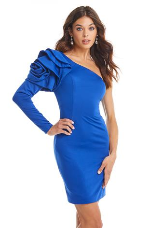 Ashley Lauren Fitted One Shoulder Sleeve Dress with Rosette Detail