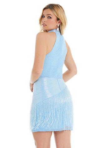 Ashley Lauren Halter Cocktail Dress with Liquid Beading & Fringe