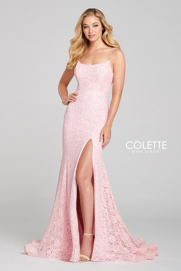 Colette for Mon Cheri Prom Dresses Pink Lace Prom Dress
