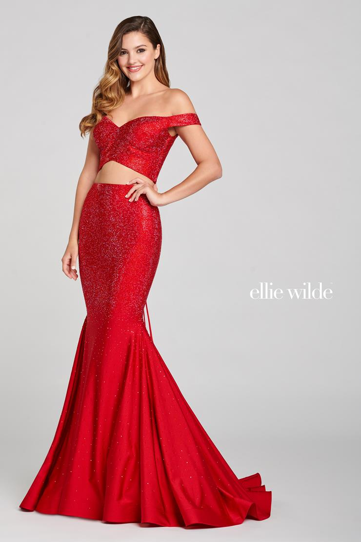 Ellie Wilde Prom Dresses Red Two Piece Prom Dress