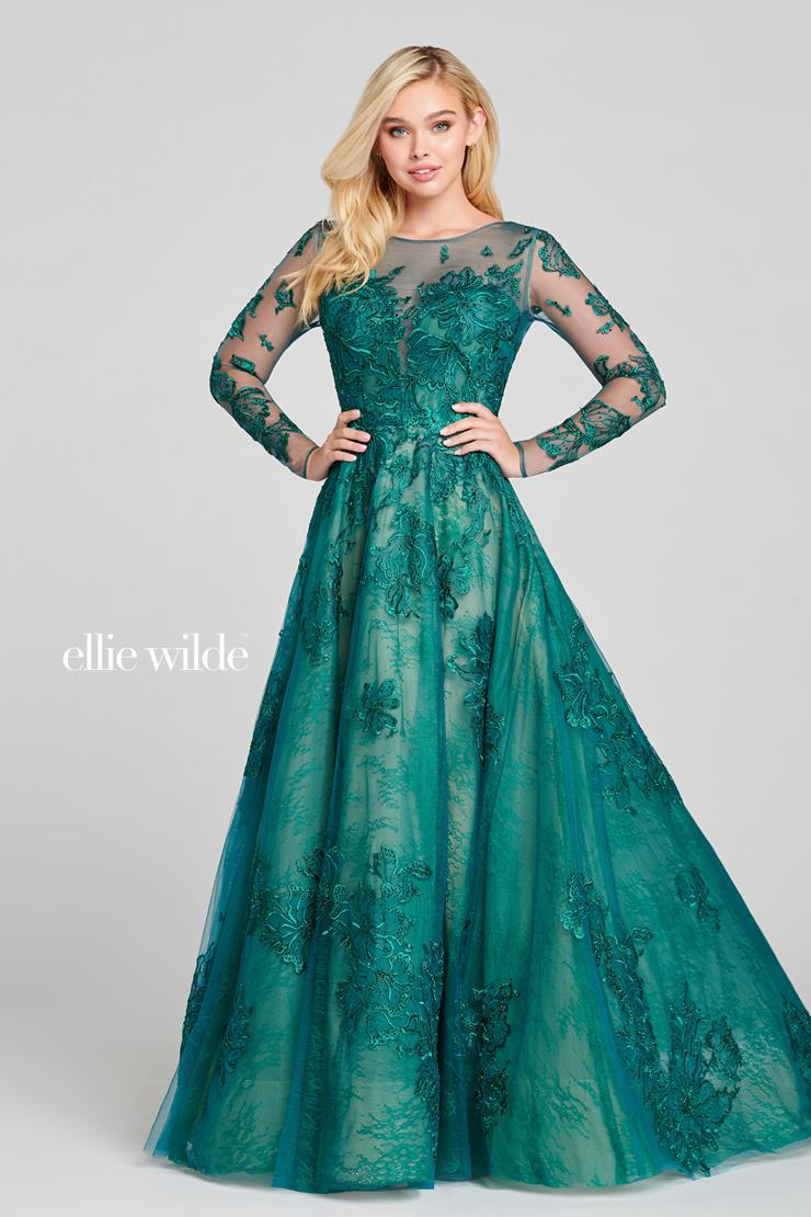 Ellie Wilde Prom Dresses Long Sleeve Emerald Green Ball Gown