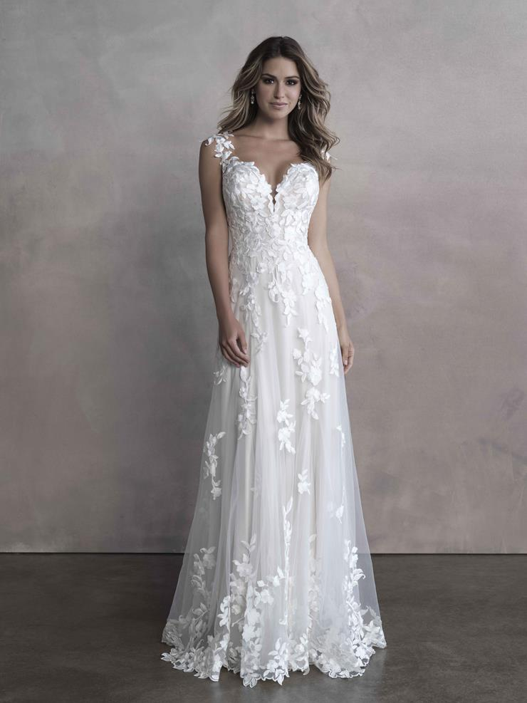 Allure Bridals Style #9816 Delicate Floral A-line gown with Deep Sweetheart Neckline and Keyhole Back  Image