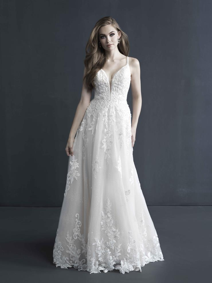 Allure Couture Style #C601 Deep V-neck A-line Wedding Dress with Sparkle Beadwork and Thin Straps  Image