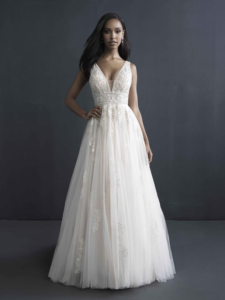 Allure Couture Style #C604 Sleeveless A-line Wedding Dress with Deep V Beaded Bodice and Low Back  Image