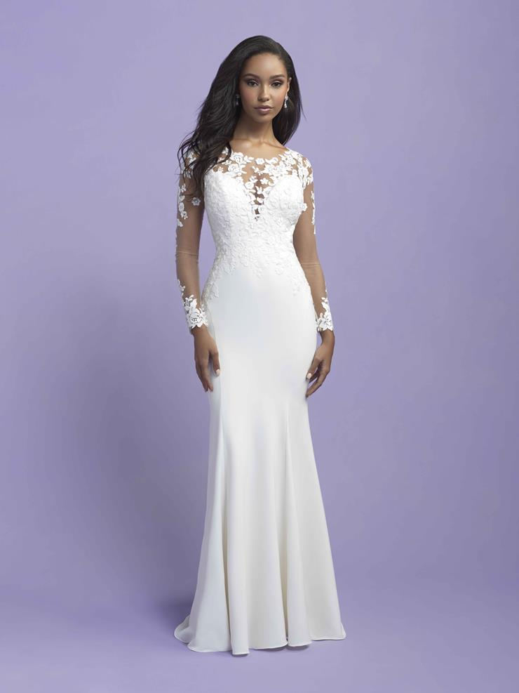 Allure Romance Style #3409 Long Illusion Sleeve Lace Sheath Wedding Dress with Crepe Skirt