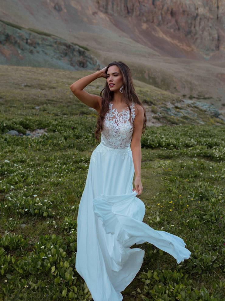 Wilderly Bride Style #Drew Boho Style A-line Wedding Dress with Illusion High Neckline and Gorgeous Illusion Back  Image
