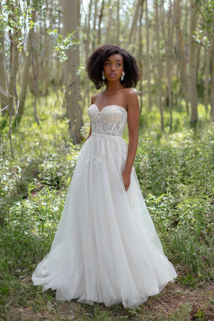 Wilderly Bride Style #Wren Strapless A-line Wedding Dress with Sheer Lace and Beaded Corset Bodice  Image