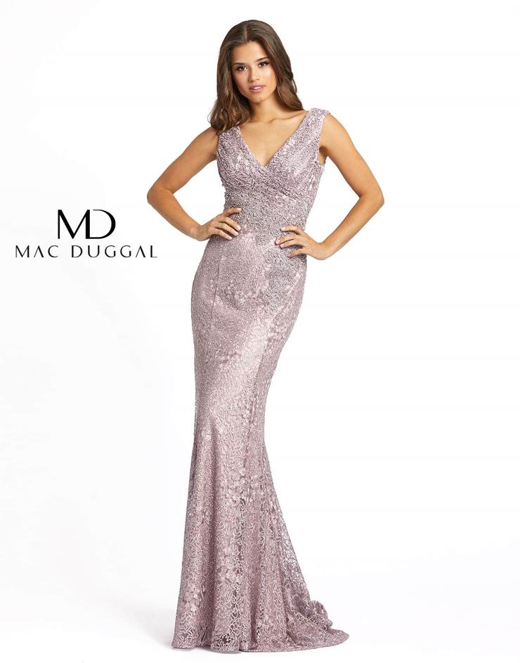 Mac Duggal Style #20159D Lace and Beaded V-neck Mermaid Mother's Dress  Image