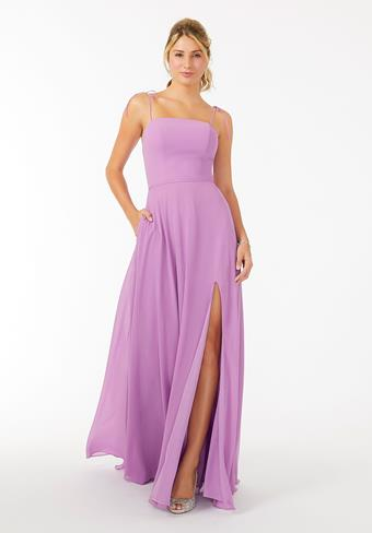 Morilee Chiffon Bridesmaid Dress with Front Slit and Keyhole Back