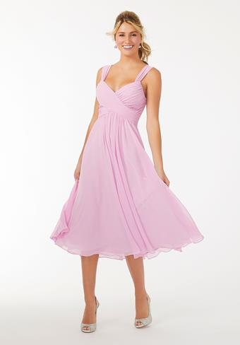 Morilee Midi Chiffon Bridesmaid Dress with Ruched Bodice