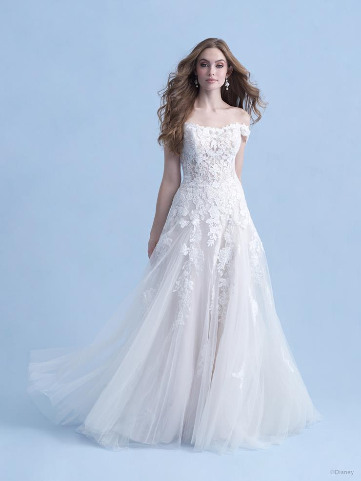 Disney Fairy Tale Weddings Style #D281 - Aurora Off the Shoulder A-line Wedding Dress with Sequin Floral Lace  Image