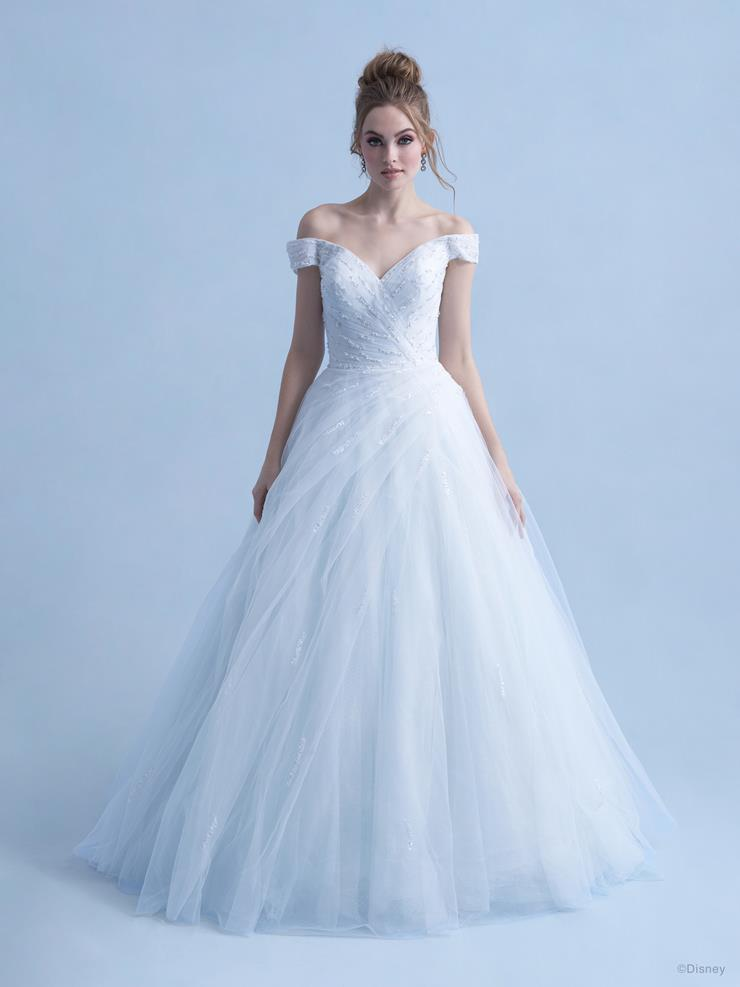Disney Fairy Tale Weddings Style #D283 - Cinderella Off the Shoulder Ball Gown Wedding Dress with Beaded Bodice, Sequins and Tulle Skirt  Image