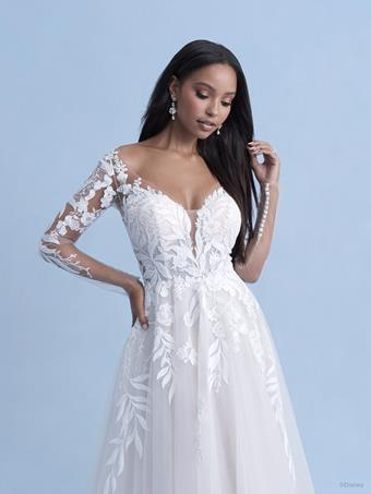 Disney Fairy Tale Weddings Style #D285 Pocahontas 3/4 Sleeve Sweetheart A-line Lace Wedding Dress with Leaf Inspired Lace and Illusion Train